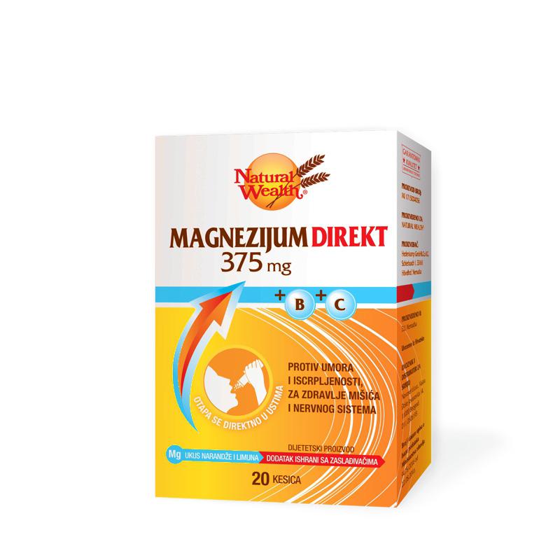 NATURAL WEALTH MAGNEZIJUM DIREKT 375 + VITAMIN B + VITAMIN C granule